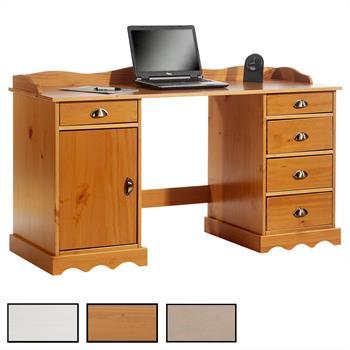 Bureau en pin SANDRINE, avec corniche, 2 coloris disponibles