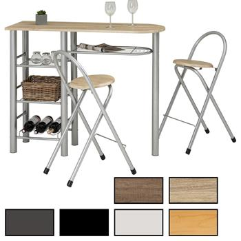 Ensemble table haute de bar et 2 chaises STYLE, 3 coloris disponibles