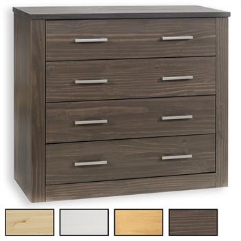 Commode en pin TENNO, 4 tiroirs, 4 coloris disponibles