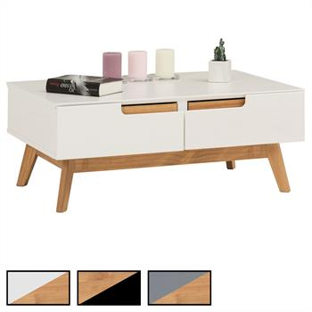 Table basse TIBOR, 2 tiroirs et 2 niches