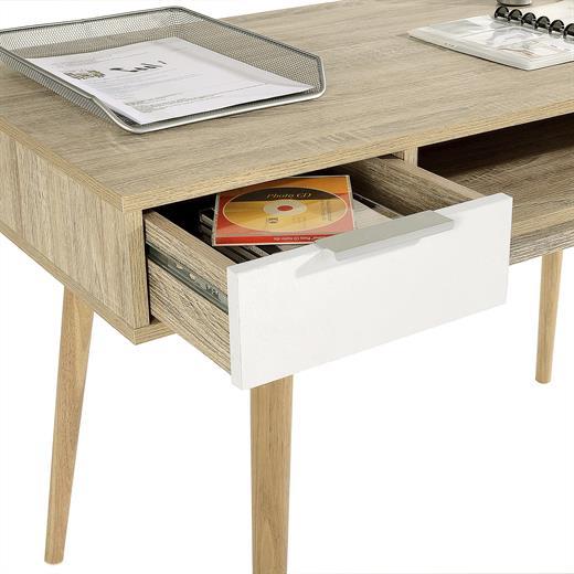 console table meuble d 39 appoint scandinave 2 tiroirs m lamin ch ne sonoma blanc ebay. Black Bedroom Furniture Sets. Home Design Ideas