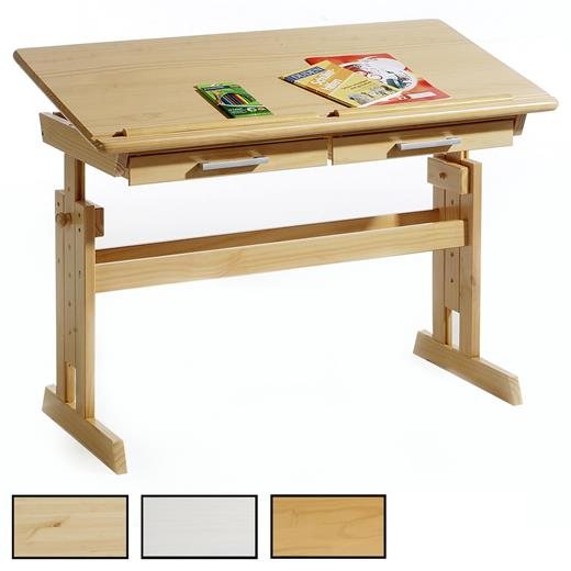 Bureau Enfant Ecolier Junior Hauteur Reglable Table Dessin Inclinable Pin Massif Ebay