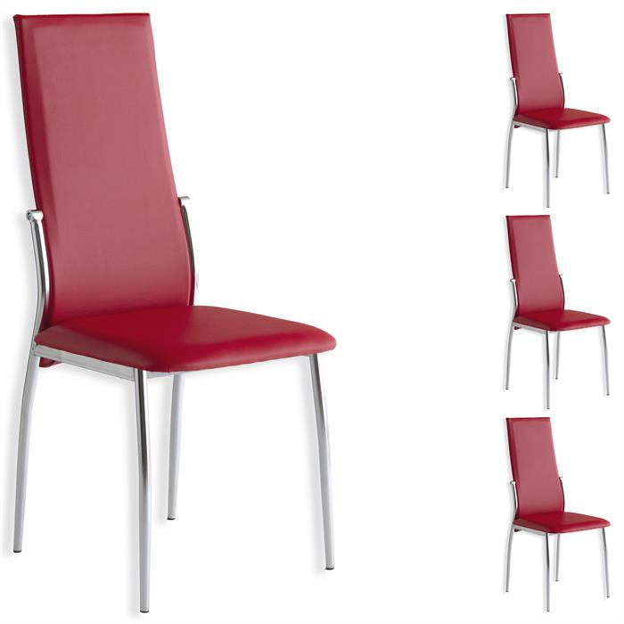 Lot de 4 chaises DORIS, rouge