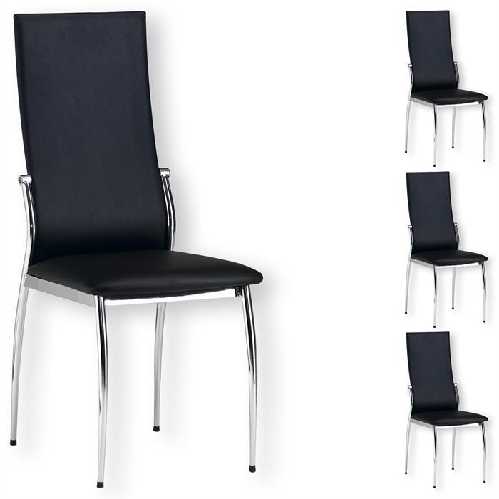 Lot de 4 chaises DORIS, en synthétique noir