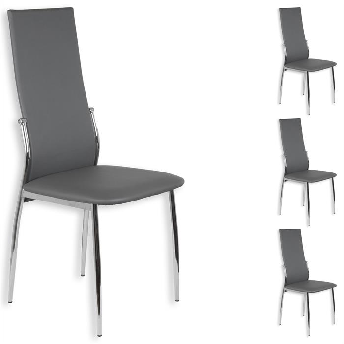 Lot de 4 chaises DORIS, en synthétique gris