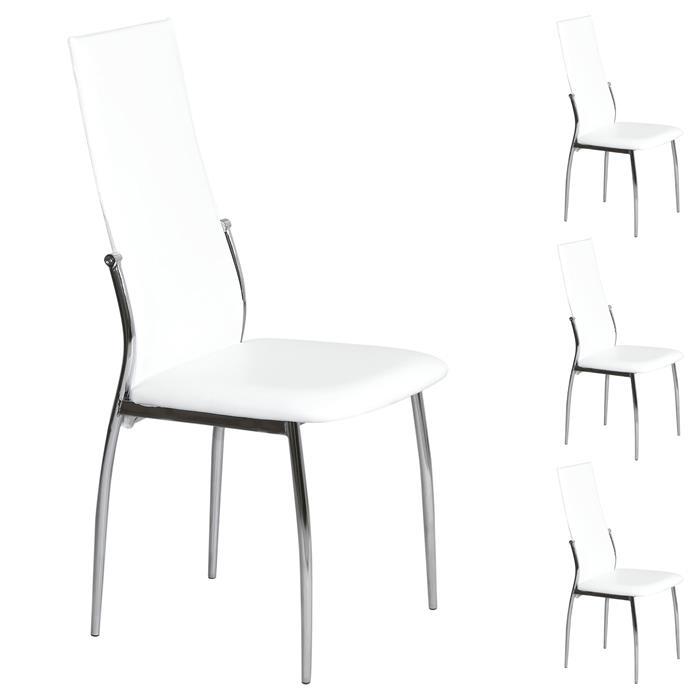 Lot de 4 chaises DORIS, en synthétique blanc