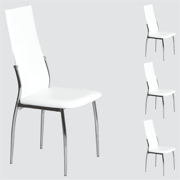 Lot de 4 chaises DORIS, blanc