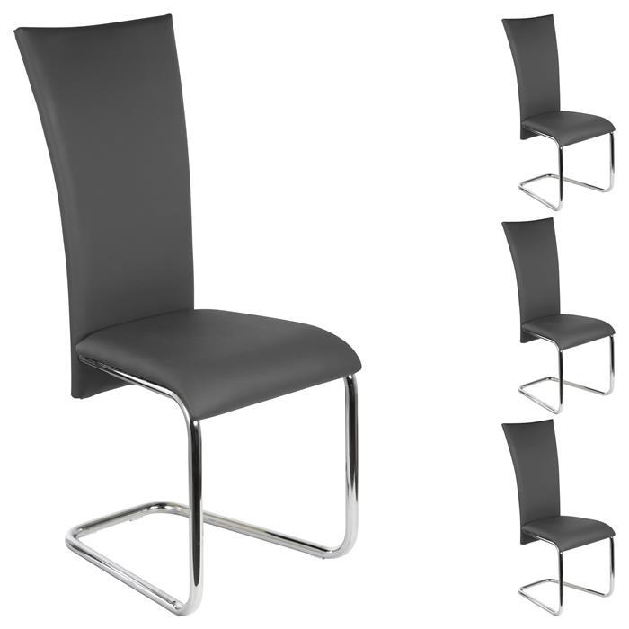 Lot de 4 chaises ANNETTE, en synthétique gris
