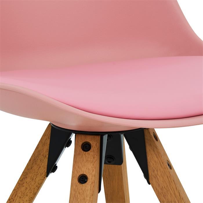 Lot de 4 chaises scandinaves TYSON, en synthétique rose
