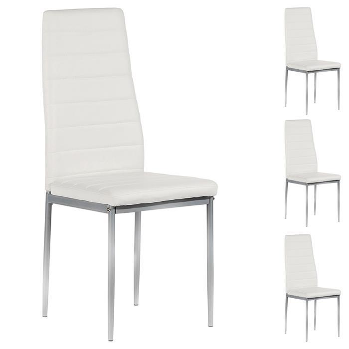 Lot de 4 chaises NATHALIE, en synthétique blanc