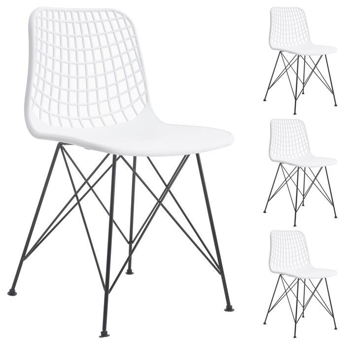 Lot de 4 chaises GLORIA, en plastique