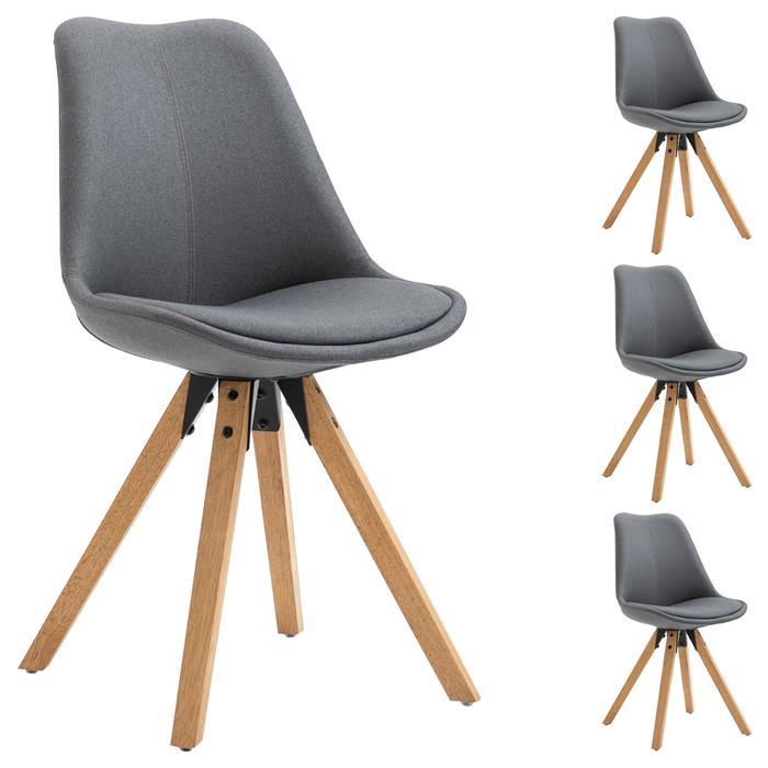 Lot de 4 chaises scandinaves ROSITA, en tissu