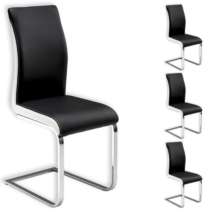 Lot de 4 chaises INDIRA, noir et blanc