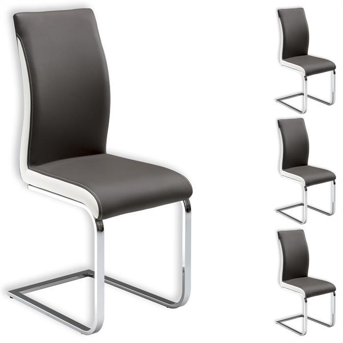 Lot de 4 chaises INDIRA, gris et blanc