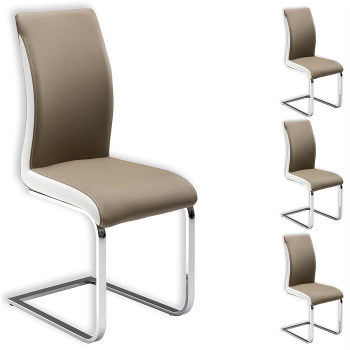 Lot de 4 chaises INDIRA, brun et blanc