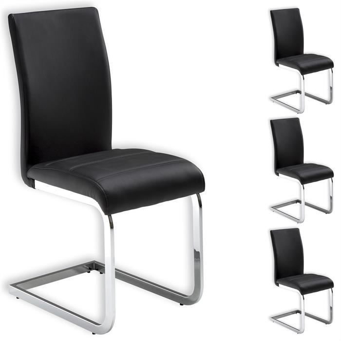 Lot de 4 chaises LETICIA, noir