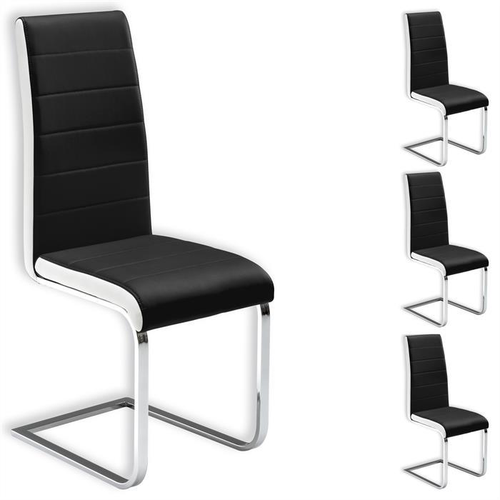 Lot de 4 chaises EVELYN, en synthétique noir et blanc