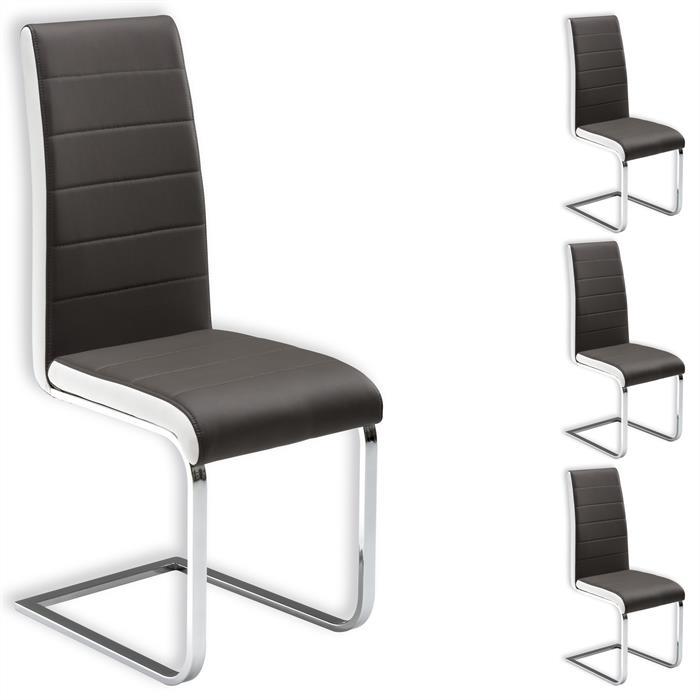 Lot de 4 chaises EVELYN, gris et blanc