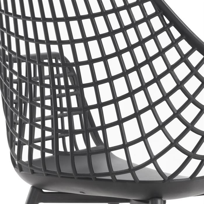 Lot de 4 chaises LUCIA, en plastique noir