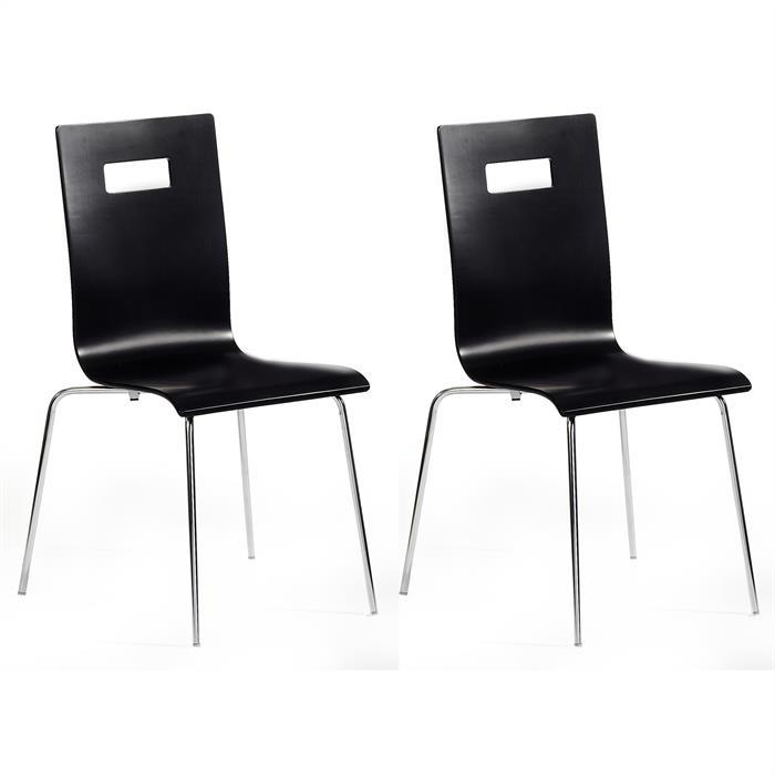 Lot de 4 chaises IVANCA, laqué noir