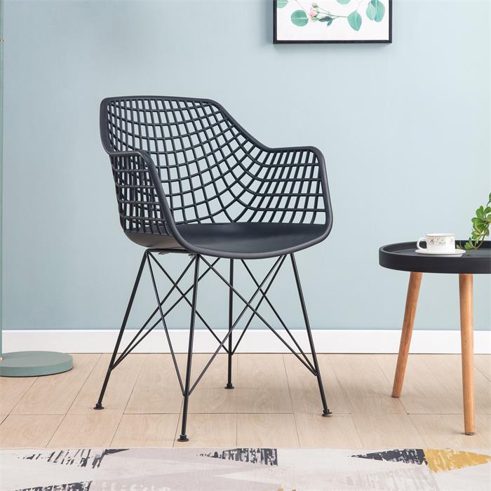 Lot de 4 chaises ALICANTE, en plastique noir