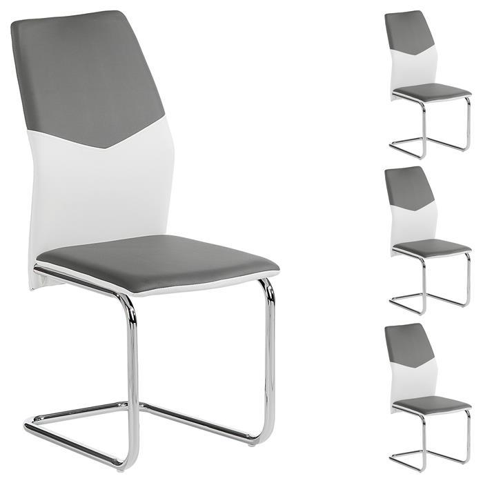 Lot de 4 chaises LEONA, en synthétique blanc et gris