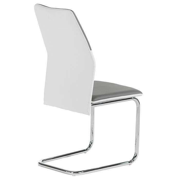 Lot de 4 chaises LEONA, blanc et gris