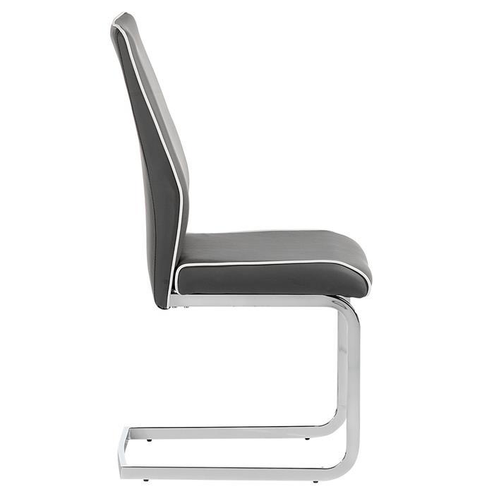 Lot de 4 chaises JIMENA, en synthétique gris