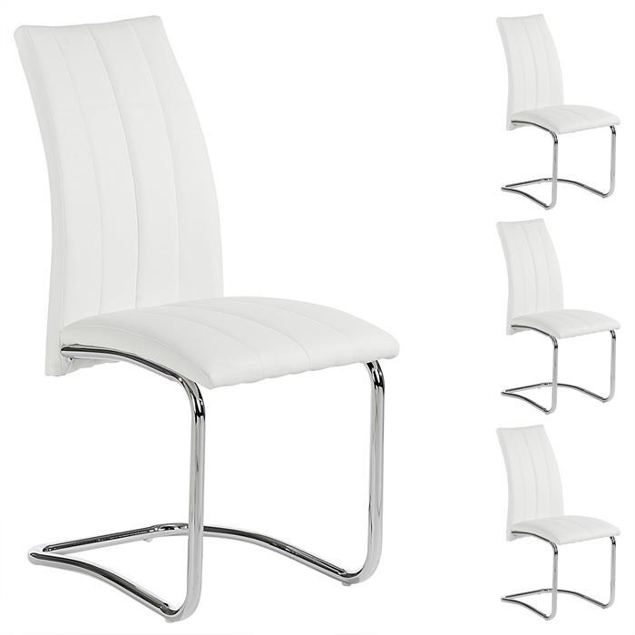Lot de 4 chaises ALESSIA, blanc