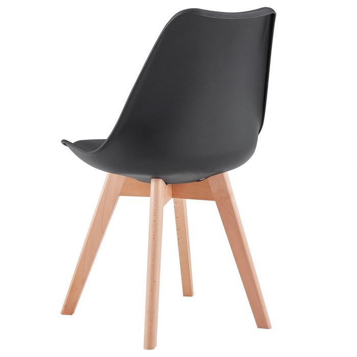 Lot de 4 chaises scandinaves ABBY, en synthétique noir