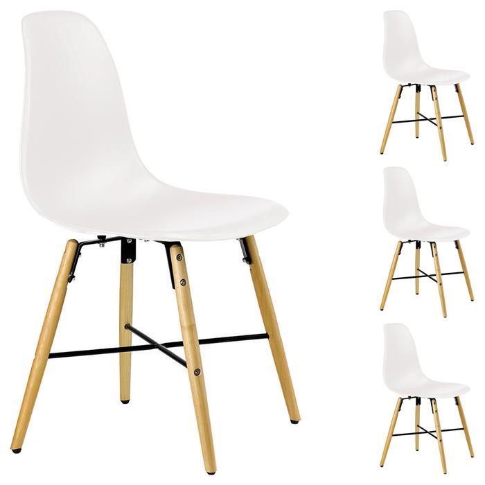 Lot de 4 chaises CICERO, en plastique blanc