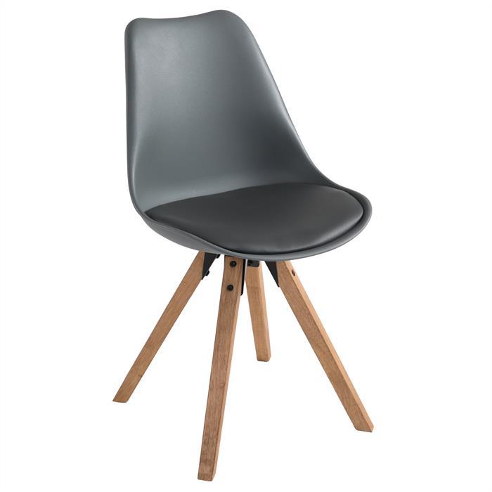Lot de 4 chaises scandinaves TYSON, en synthétique gris