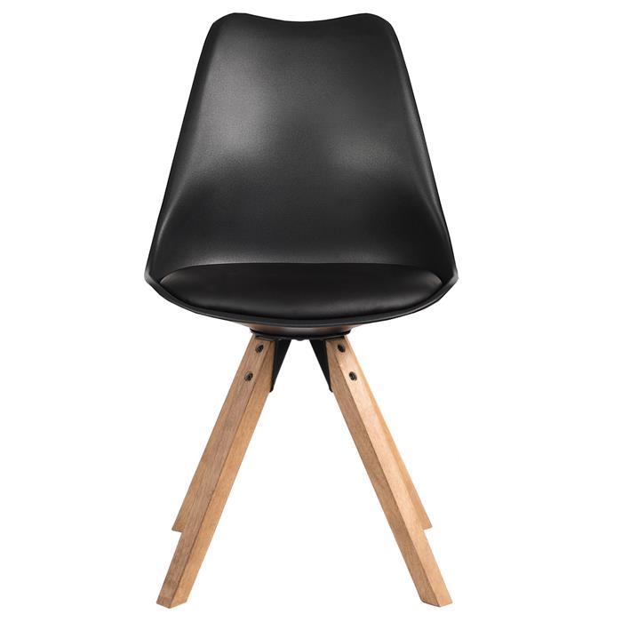 Lot de 4 chaises scandinaves TYSON, en synthétique noir