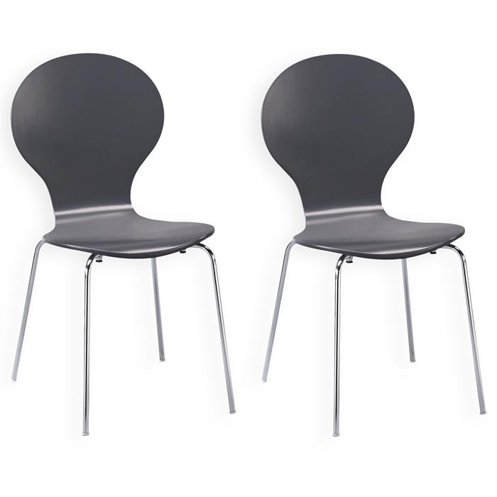 Lot de 2 chaises empilables MAUI, coloris gris