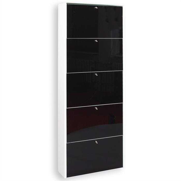meuble chaussures modena laqu blanc et verre noir mobil meubles. Black Bedroom Furniture Sets. Home Design Ideas