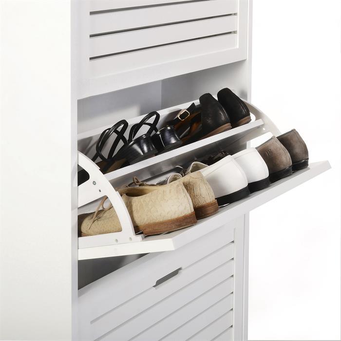 Meuble à chaussures ADRIA, 3 abattants, blanc mat