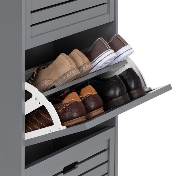 Meuble à chaussures ADRIA, 3 abattants, gris mat