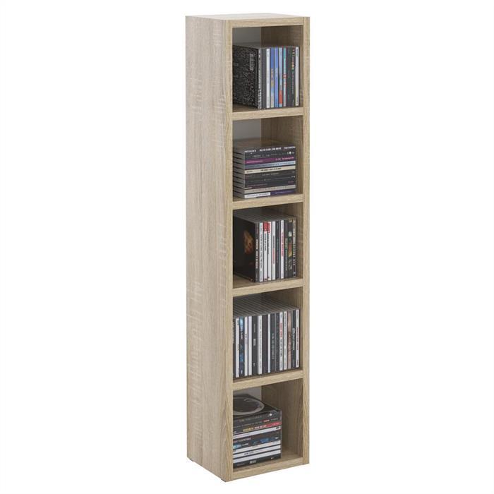 Etagères modulables MUSIQUE pour CD et DVD, en mélaminé décor chêne sonoma