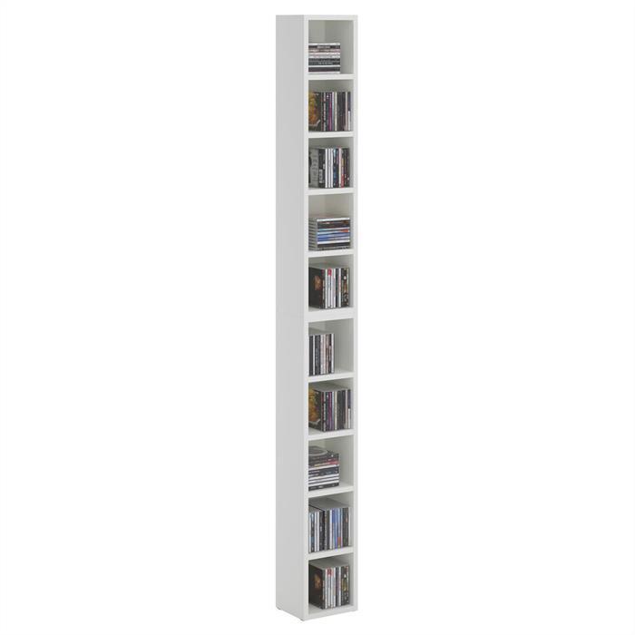 Etagères modulables MUSIQUE pour CD et DVD, en mélaminé blanc mat