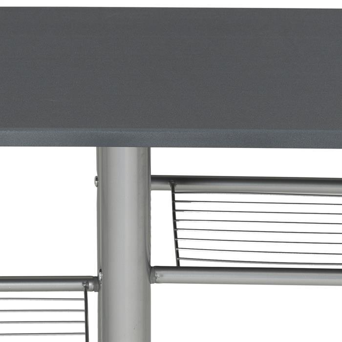 Ensemble table haute de bar et 2 chaises STYLE, gris mat