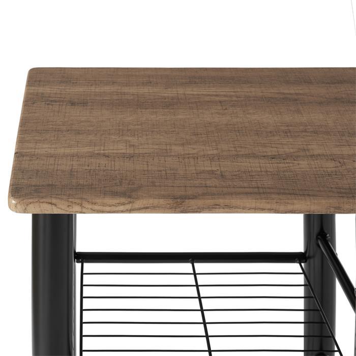 Ensemble table haute de bar et 2 chaises STYLE, décor chêne sauvage