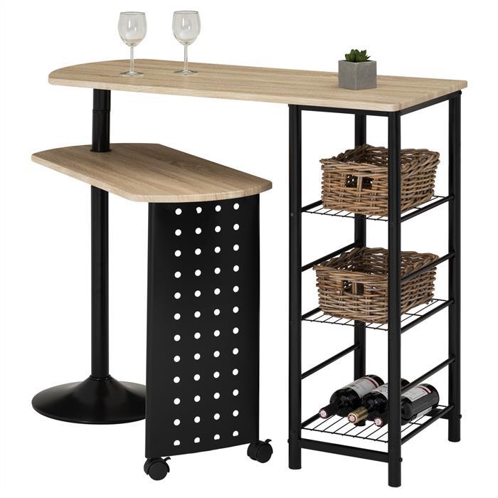 Table haute de bar JOSUA, décor chêne sonoma/noir