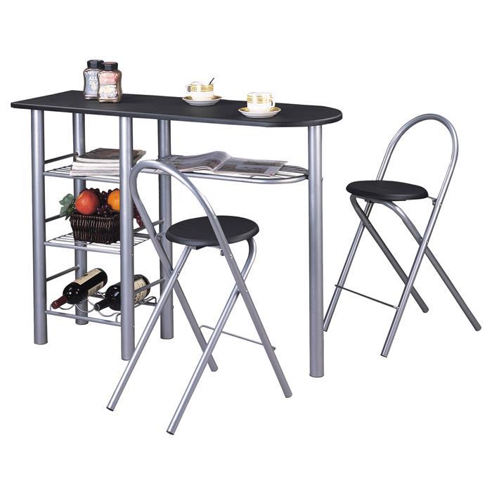 Ensemble table haute de bar et 2 chaises STYLE, noir mat