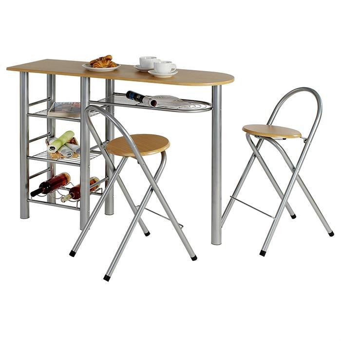 Ensemble table haute de bar et 2 chaises STYLE, couleur hêtre