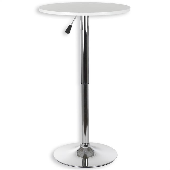 Table haute de bar VISTA, plateau en MDF blanc mat