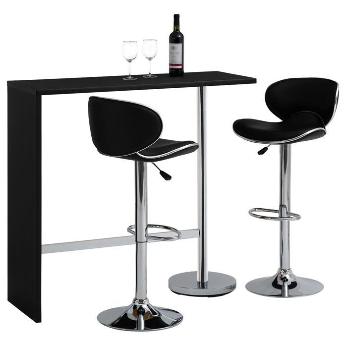 Table haute de bar RICARDO, noir mat