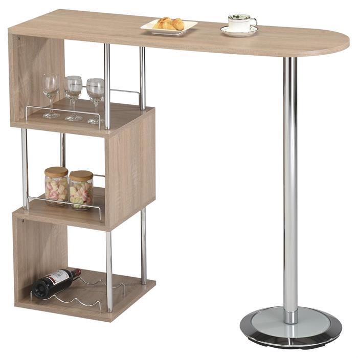 Table haute de bar VIGANDO, décor chêne sonoma