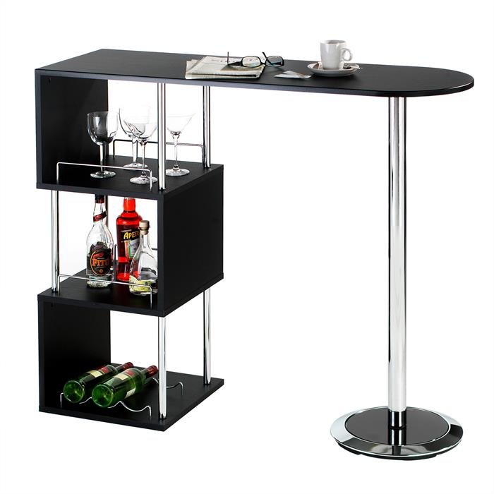 Table haute de bar VIGANDO, noir mat
