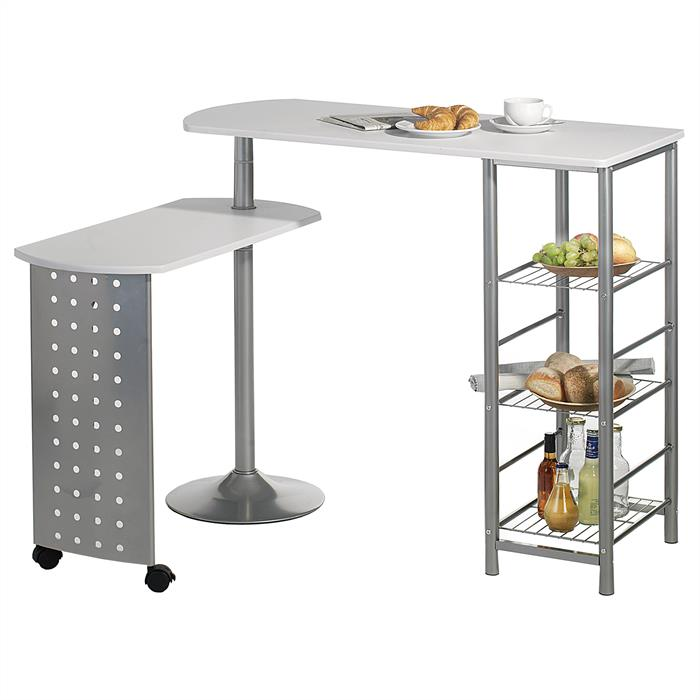 Table haute de bar JOSUA, blanc mat