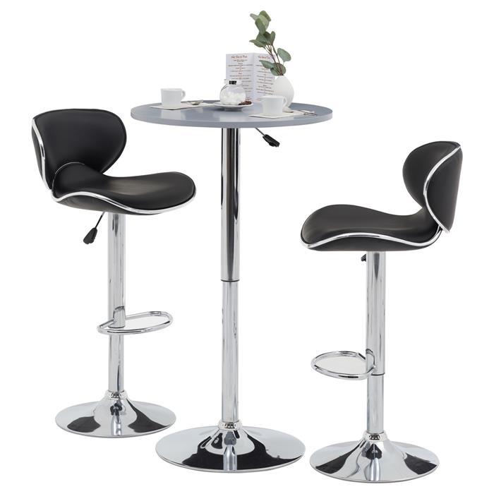 Table haute de bar VISTA, plateau en MDF gris mat